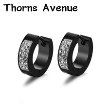 все цены на 1 Pair 4mm*9mm Round Crystal Earrings Hoop Stainless Steel Punk Small Hoop Earrings For Men Women Jewelry With A Blessing Bag онлайн
