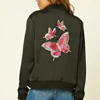 2017 Butterfly Embroidered Bomber Winter Autumn Embroidered Bomber Jacket Femme 2 Colors F9003
