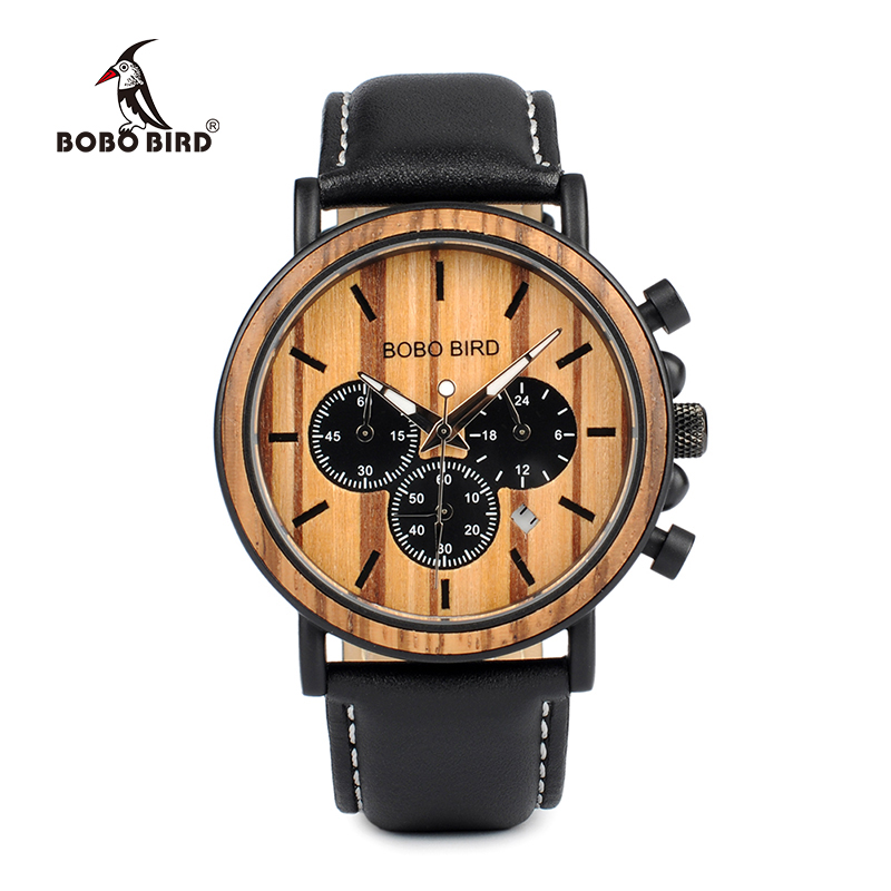 BOBO BIRD Men Watches Special Wood and Metal Design Leather Wristwatches Quartz Watch Ideal Gifts Item Male Relogio C--2