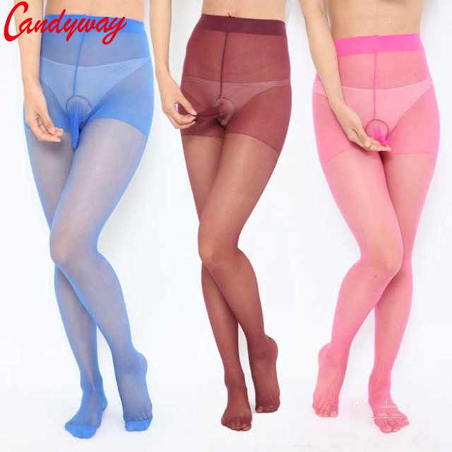 Hot sell fashion Mens Tights 8 Colors Silk stockings for Men Penis Pouch Sheath Underwear New sexy bodysuit