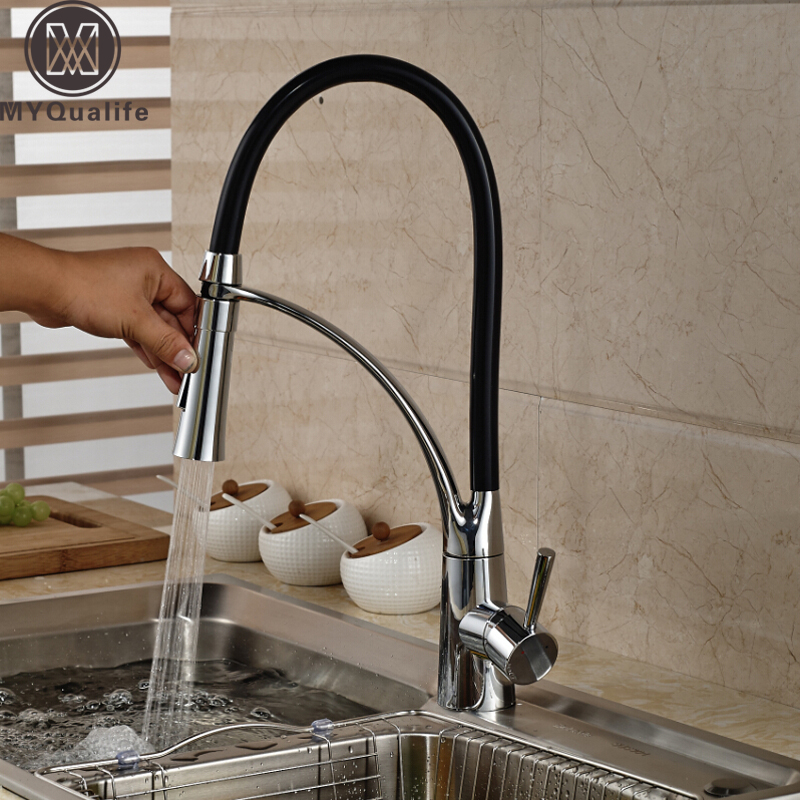 Polished Chrome Kitchen Sink Faucet Swivel Pull Down Spout Kitchen Sink Tap Deck Mounted Bathroom Hot and Cold Water Mixers kitchen chrome plated brass faucet single handle pull out pull down sink mixer hot and cold tap modern design