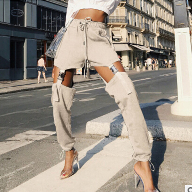 59ae66884 Harajuku Hip Hop Cargo Pants Streetwear Women Street Style Pantalon Femme  Panelled Spliced High Waist Jogger Sweatpants Dropship