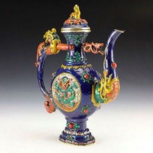 Oriental Vintage Collectible Colored enamel Handwork Copper Dragon Teapot