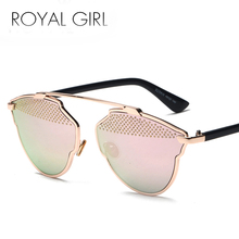 ROYAL GIRL Vintage Sun Glasses Female Retro Sexy Cat's Eye Sunglasses Women Brand Designer Metal Frame Mirror Steel Ball SS808