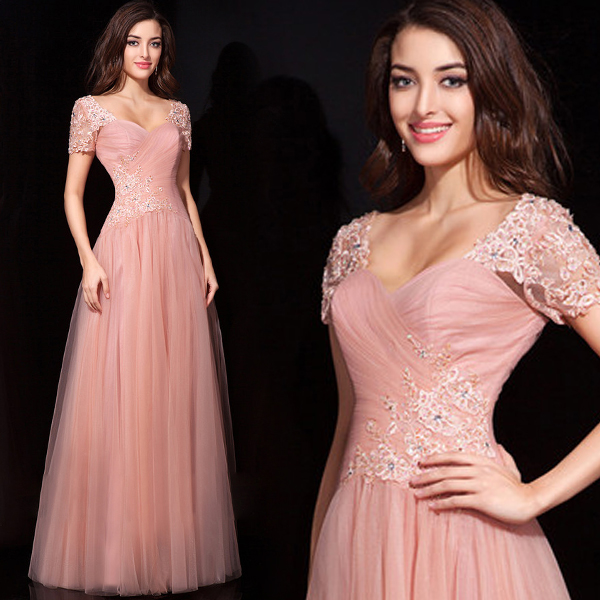 short sleeve vestido longo hot sexy long pink appliques tulle Formal gowns 2018 prom gown robe de soiree   bridesmaid     dresses