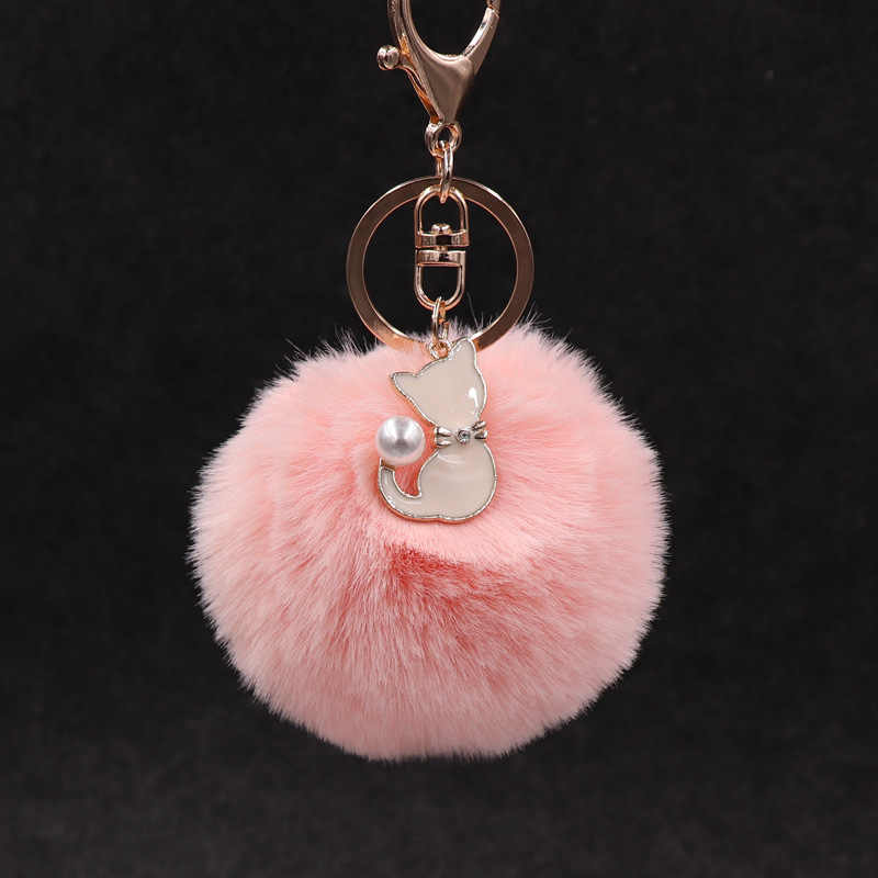 귀여운 핑크 고양이 모피 키 체인 Pompom 가짜 모피 공 열쇠 고리 솜털 Pompon 열쇠 고리 가방 매력 열쇠 고리 발렌타인 데이 선물