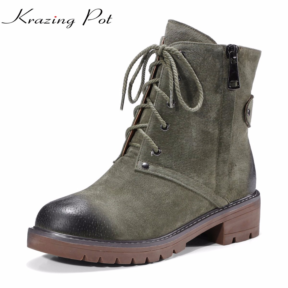 Krazing pot pig suede winter lace up boots high heels handsome round toe mixed color runway western cowboy mid-calf boots L35 fashion pointed toe lace up mens shoes western cowboy boots big yards 46 metal decoration