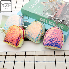 XZP Laser Small Coin Purse Shining Color Snake Pattern Mini Zipper Bag Handbag Cute Headset Key Ring