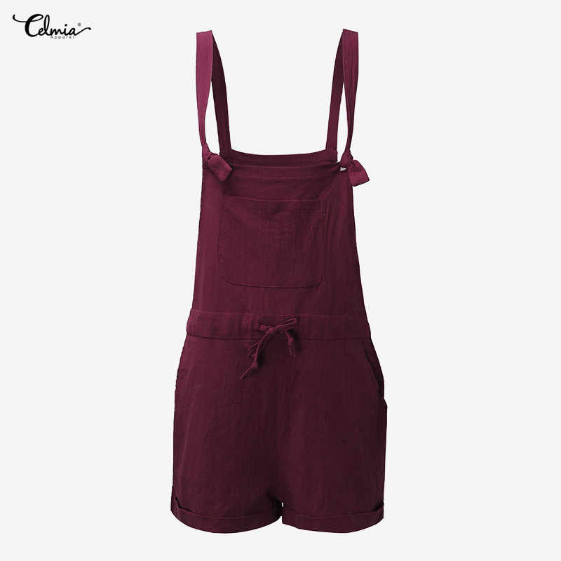 3013fcf1e4c ... 2018 Celmia Cotton Linen Palazzo Pants Women Summer Strap Sleeveless  Overalls Casual Loose Short Trouser Pantalon