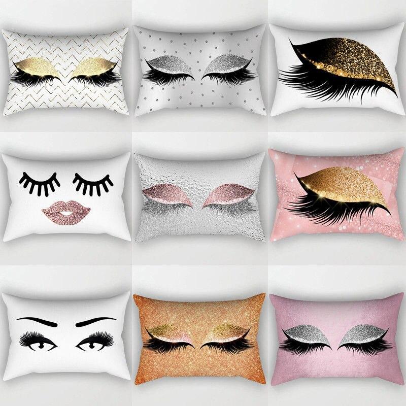 Creative Sequin Eyelash Cotton Cushion Case Waist Throw Cushion Case Home Decor Lounge Cushion