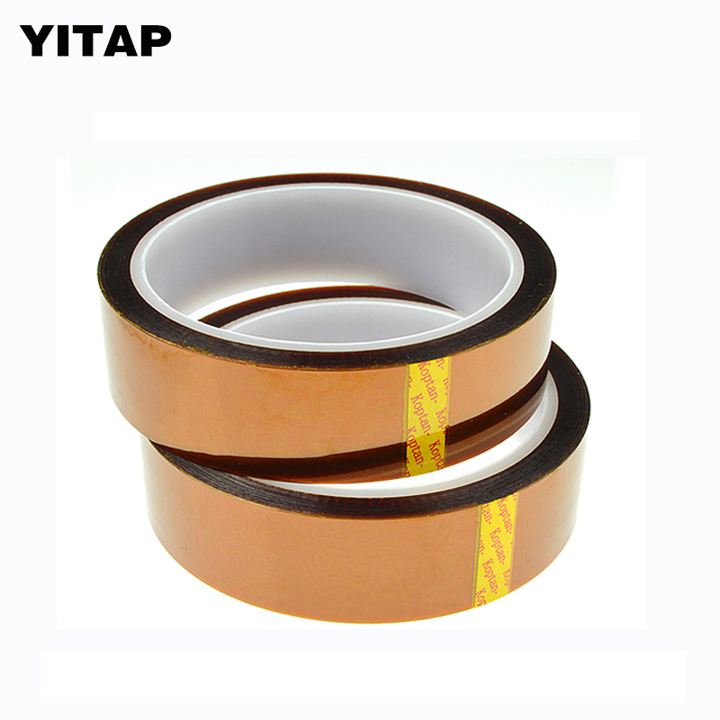 2 Roll High Temperature Resistant Insulating Kapton Soldering Polyimide Adhesive Tape 24mm X 30m reparing plastic hardware high temperature resistant wire roll black 250m
