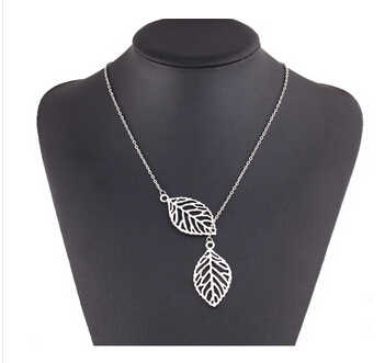 Sprzedaż hurtowa proste europejska moda w stylu Vintage Punk złoty Hollow dwie liść liść naszyjnik łańcuszek do obojczyka urok biżuteria kobiety