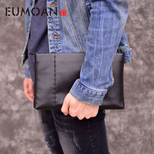 EUMOAN Handbag male genuine leather retro large day clutch mens head cowhide business men mobile phone bag