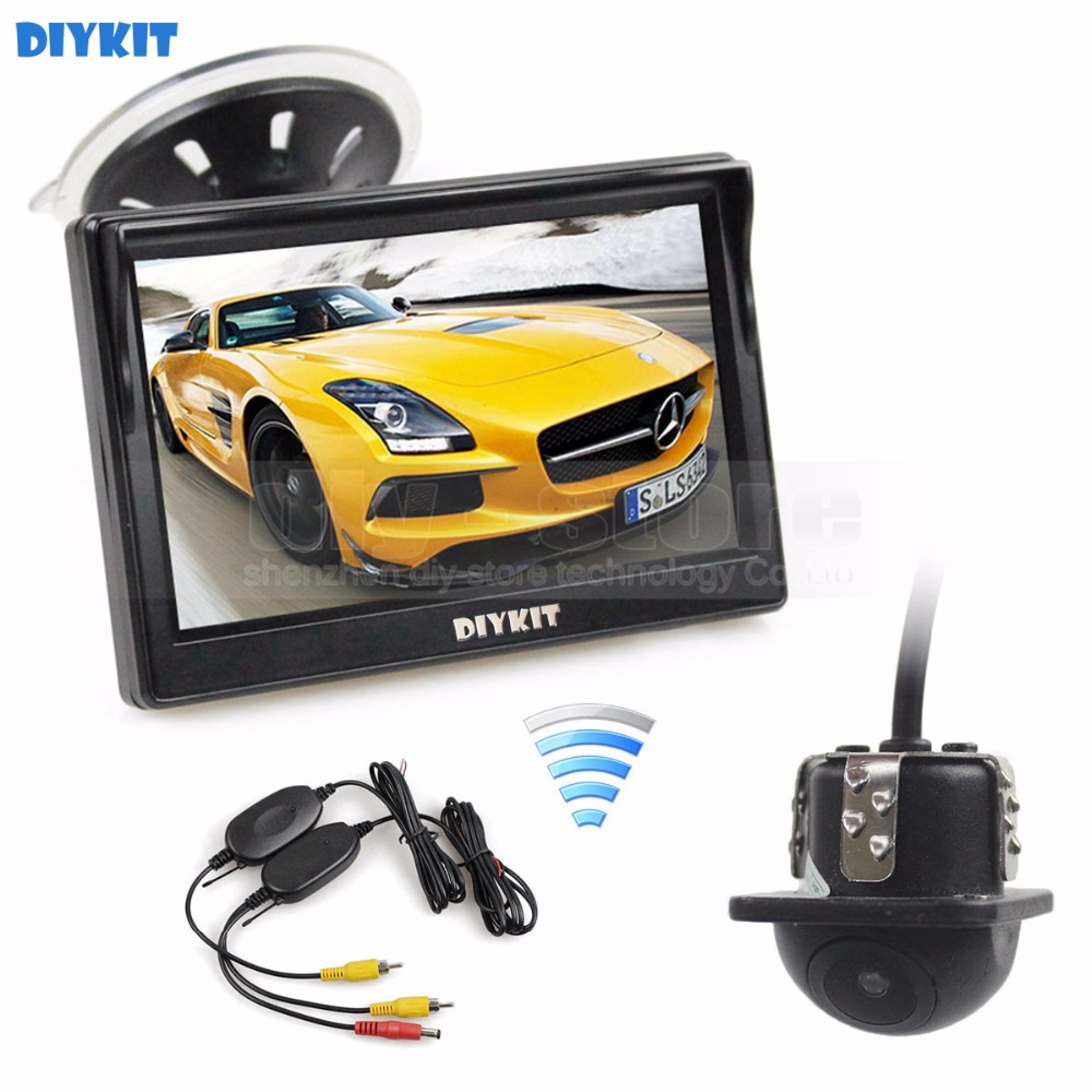 DIYKIT Wireless 5 Inch HD LCD Display Rear View Monitor Car Monitor Mini Car Cam Rear View Car Camera Reversing System