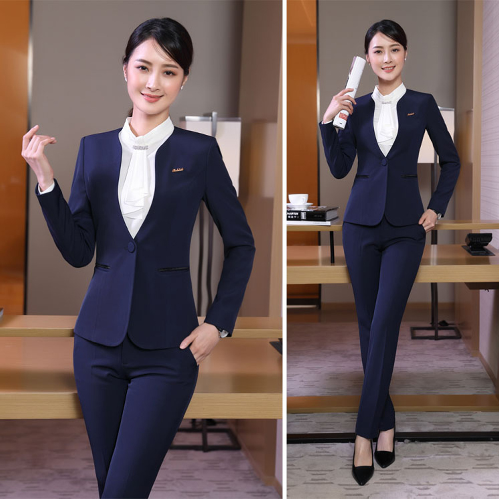 50ab43e7c Autumn slim work wear women trouser jacket OL fashion formal blazer with  pant set plus size office business Stripes suit female-in Pant Suits from  Women's ...