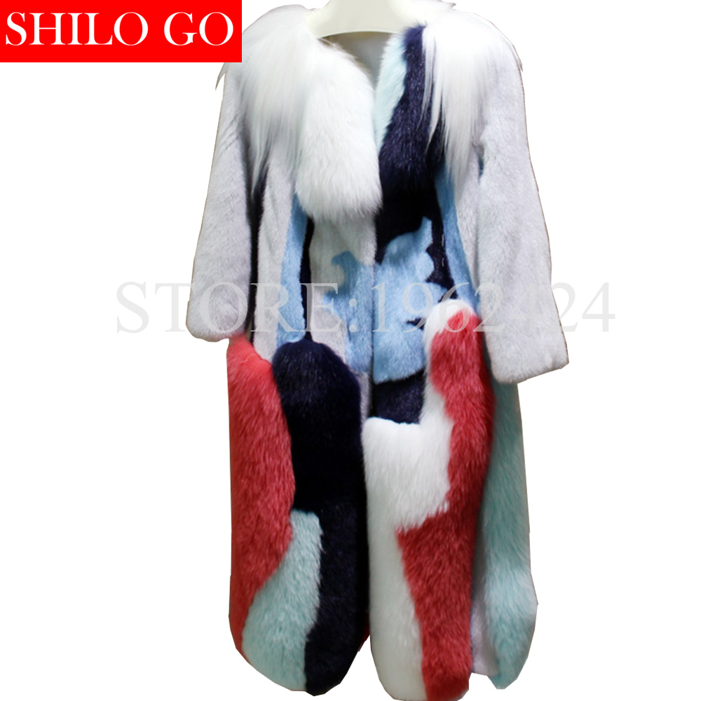 2017 winter new fashion women high quality luxury leather imported white mink fox fur gold goat skin color long mink coat