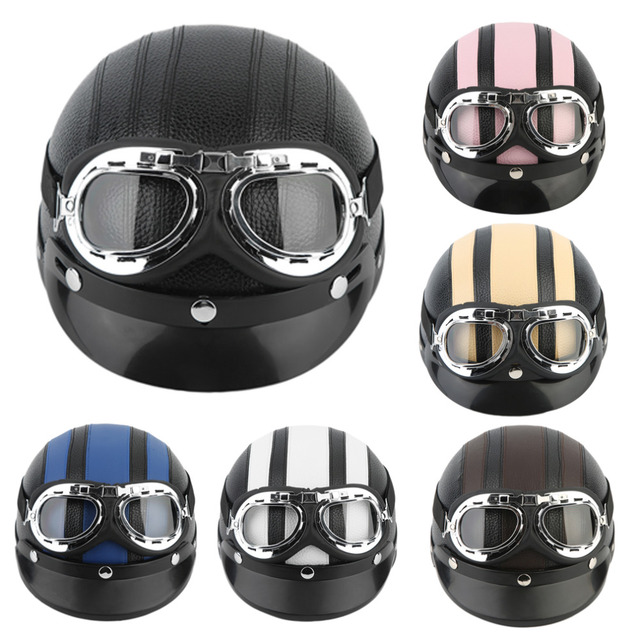 Motorcycle Scooter Open Face Half Synthetic Leather Helmet Visor UV Goggles AO FREE shipping