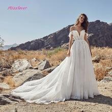 Boat Neck A-line Wedding Dress 2019 backless Court Train