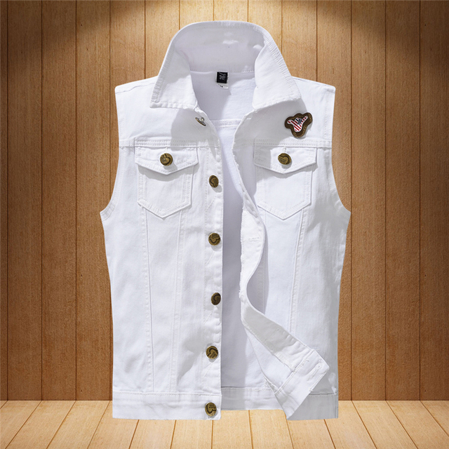 1142fcbee0e83b new Men s Denim Vest Brand Jeans Vest Men Cowboy Vest Denim Sleeveless  Jacket Motorcycle rider jacket men Jeans coats White