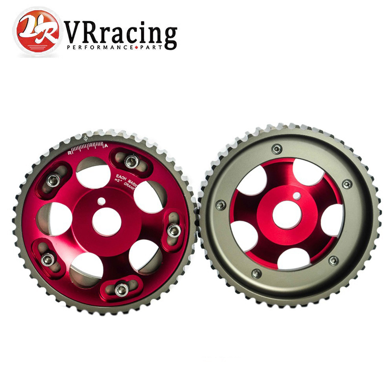 VR RACING - (1 Pair) UNTUK Toyota 1JZ 2JZ DOHC Mesin Adjustable Aluminium Pulley Cam Gear Merah VR6531R