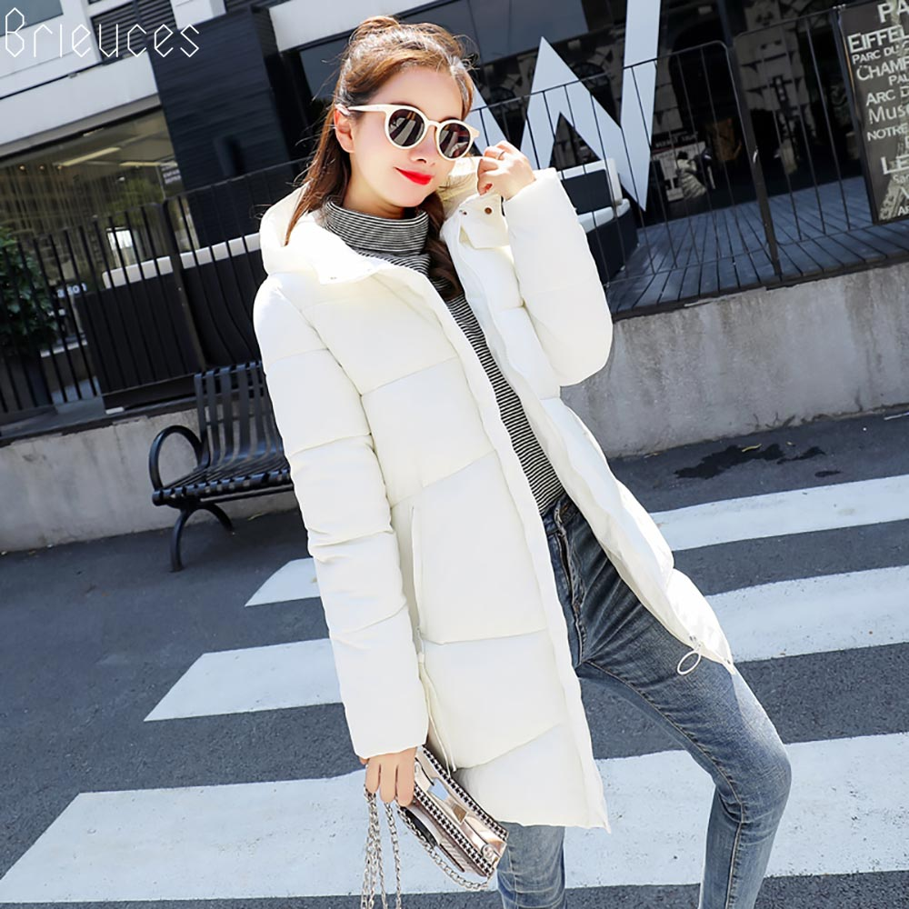 Brieuces 2019 New Autumn Winter Coat Women Jacket Long   Parkas   Woman Clothes Solid Jacket Slim Women's Winter Jackets And Coats
