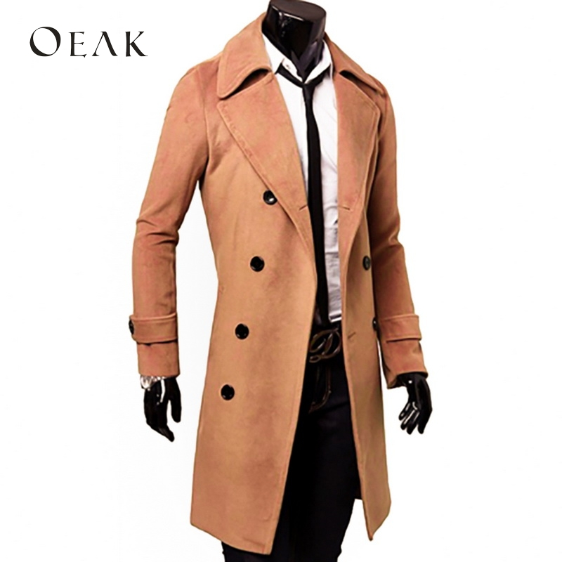 Oeak Autumn Winter Turn-down Collar Men's Coats Winter Jacket with Buttons Man Long Overcoat Trench Coat Casual casaco masculino