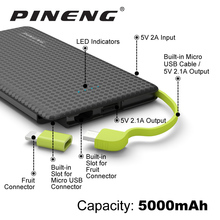 Pineng Power Bank 5000mAh External Battery Portable Mobile phone Charger Dual USB for iPhone 5 6 6s 7 Plus Samsung LG HTC Xiaomi