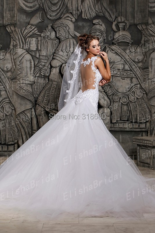 926972bdfeab Custom Made Straps Sleeveless Sheer Back Sexy Mermaid Wedding Dress Lace  Long Tail Bridal Gown vestido de noiva-in Wedding Dresses from Weddings &  Events on ...