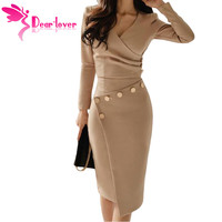 Dear Lover New Winter Women Bodycon Midi Dress V Neck Asymmetric Button Detail Khaki Ruched Office Dress Black Blue LC610942