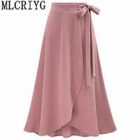 2019 Spring Fashion Skirts Womens High Waist Vintage Pink Black Long Skirt For Women Asymmetrical faldas mujer plus size 5xl 6xl