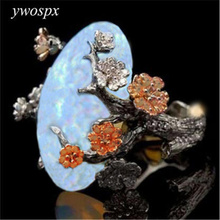 YWOSPX Vintage Black Gold Color Ring White Fire Opal Flower Rings For Woman Gifts Wedding Engagement