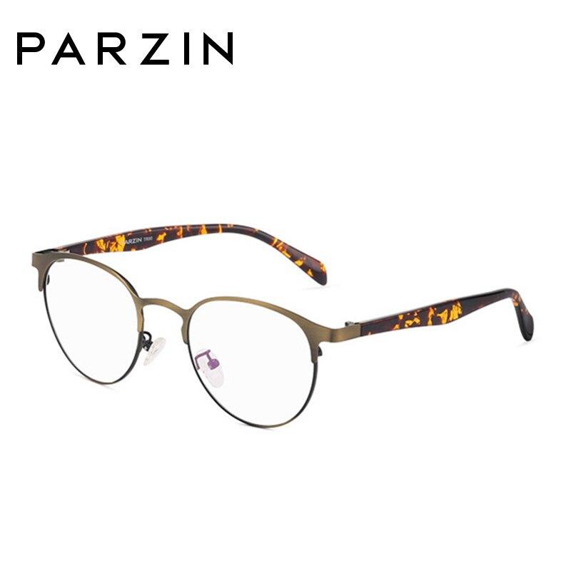 Parzin Vintage lunettes rondes cadre femmes hommes métal lunettes cadre Tr 90 jambe lunettes avec étui noir 5062 - 3