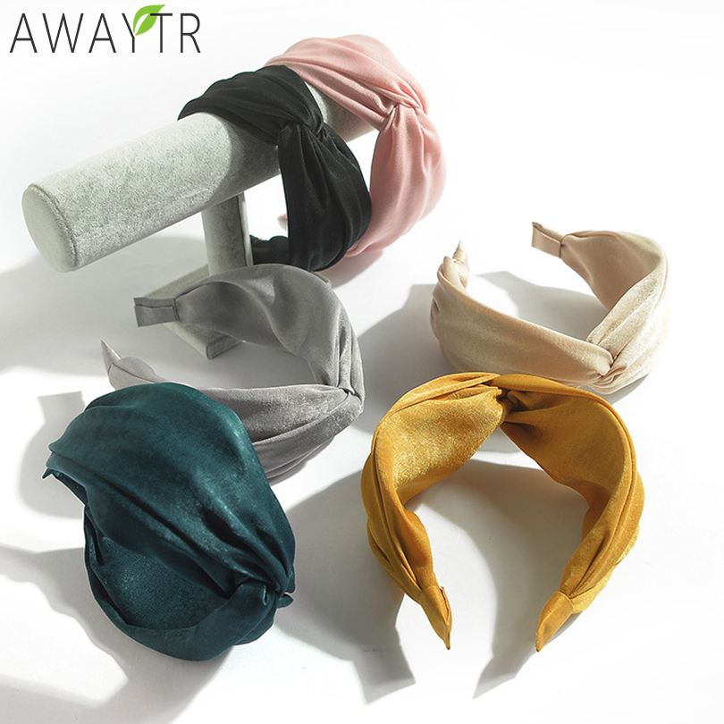 AWAYTR Womens Headband Solid Twist Hairband Bow Knot Cross Tie Cloth Headwrap Hair Band Hoop Headwear Hair Bands Accessories(China)