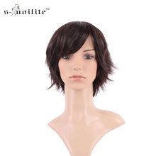 S-noilite 100% Real Natural Silky Straight Dark brown Party BOB Hair Wig Synthetic Wigs with Bangs Full Head