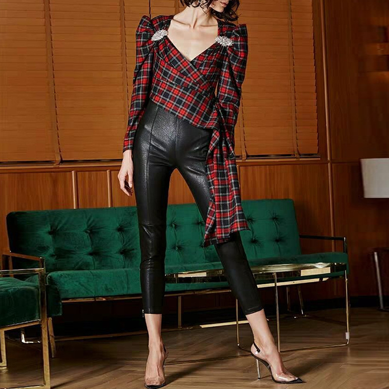 HIGH QUALITY Newest Fashion 2019 Designer   Blouse   Women's V-neck Plaid Asymmetrical   Blouse     Shirt