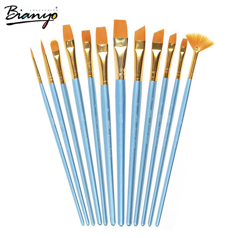 Bianyo 12Pcs Different Size Artist Fine Nylon Hair Acrylic Paintbrush Set For Watercolor Gouache Painting Brushes Art Supplies volcano bit fastest remove acrylics or gels one directional for right hand use only wilson carbide nail drill bit