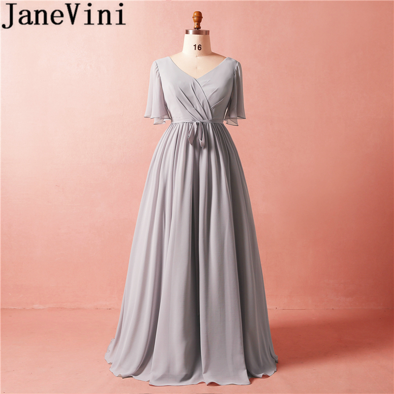 JaneVini 2018 Simple Long Mother Of The Bride Dresses V