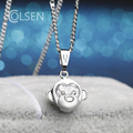 Fashion Girls Kids Gift Jewelry Cute Monkey Pendant  zircon Silver plated Necklace Animal pendants Wife birthday gift