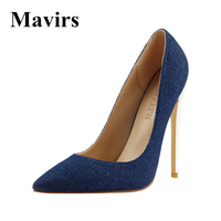 2017 Spring Pointed Toe Denim Large Size Sexy High Heels Women Pumps Stiletto Wedding Shoes