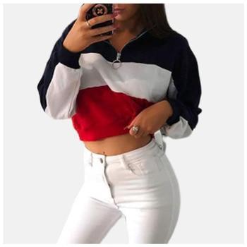 Half Zip Sweatshirt Ring Zipper Harajuku Pullover  Color Block Hoodie Poleron Mujer Ulzzang Long Sleeve Hoodie Crop Top Women o ring zip up color block sweater