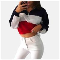Half Zip Sweatshirt Ring Zipper Harajuku Pullover Color Block Hoodie Poleron Mujer Ulzzang Long Sleeve Hoodie Crop Top Women