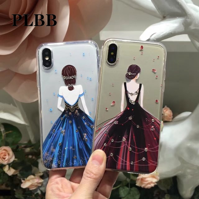 PLBB Brand <font><b>3D</b></font> Diamonds Soft TPU Phone Back Coque Case for iPhone X 6 6s 7 8 Plus Silicone Crystal <font><b>Sexy</b></font> Girls <font><b>Figure</b></font> Cover Case image