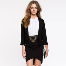 New Arrival 2016 Autumn Fashion Women Solid Black Slim Fit Blazer Jackets Notched Long Sleeve Blazers