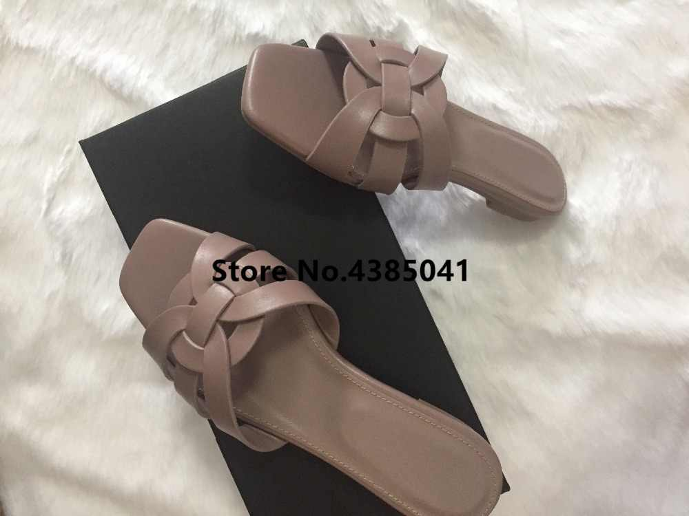 599593958a1 ... 100% Real photos Tribute Patent Leather Black Pink Lady Sandals Shoes  Woman Cozy Slides Open ...