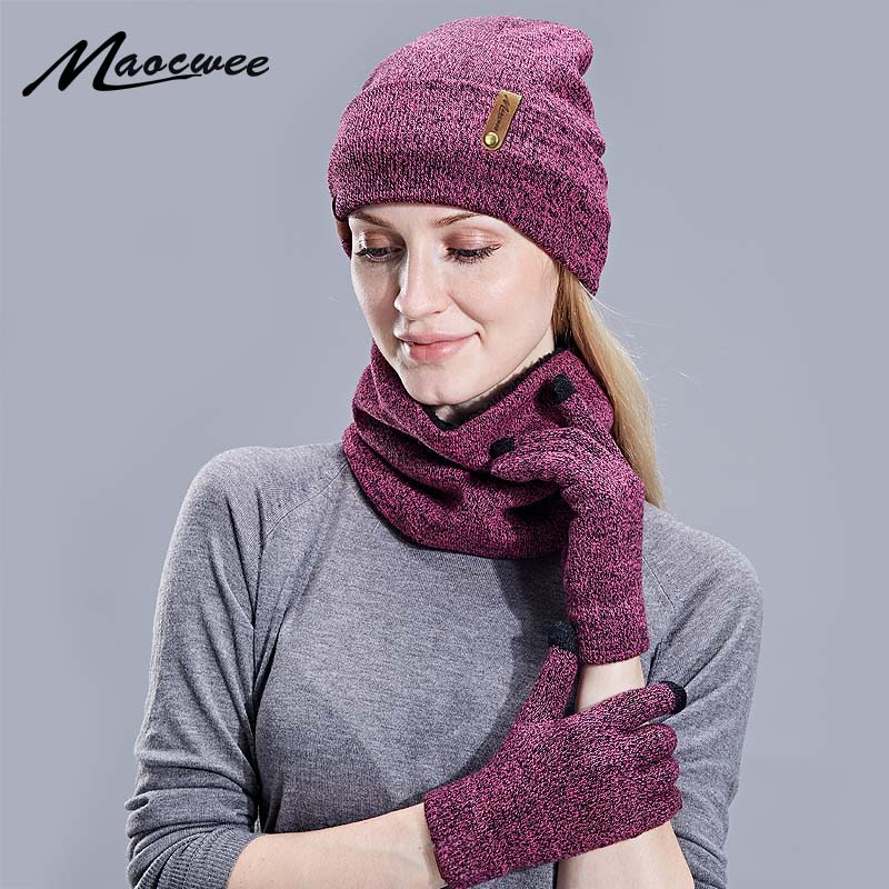 Autumn And Winter New Solid Knitted Cotton Caps Bib Touch Screen Gloves Warm And Comfortable Men And Women Universal Ski Hats