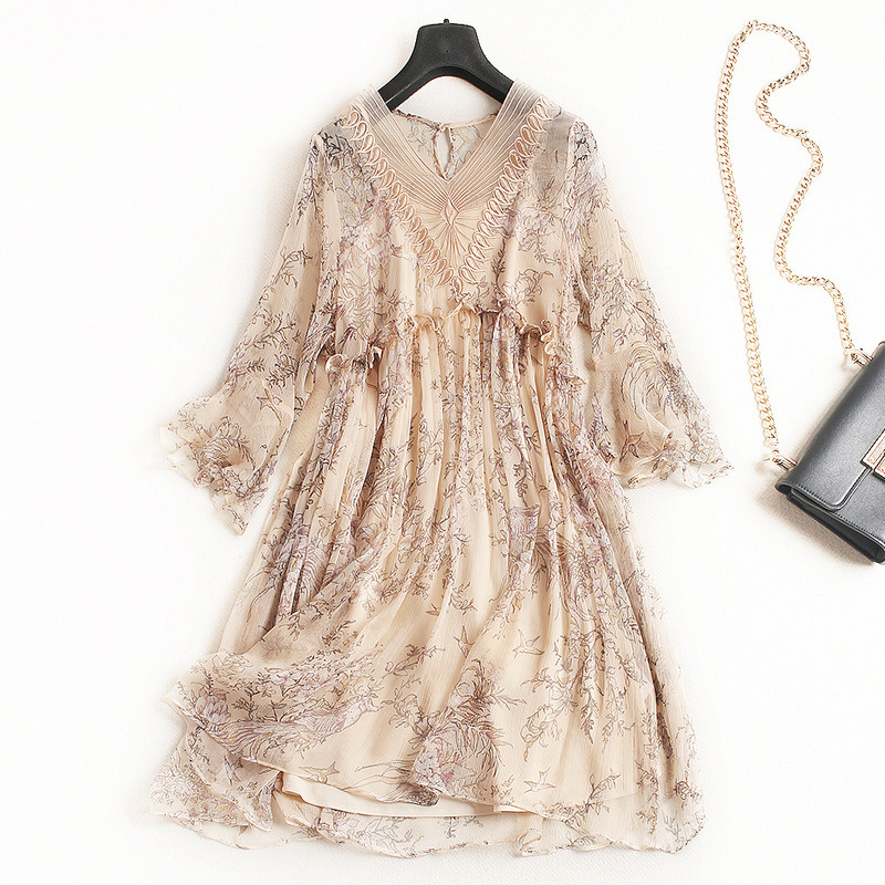 Women fashion floral print silk chiffon dress sexy embroidery mesh inset loose style dresses new 2018 summer beige black bar iii new bright white women s size large l mesh sleeve inset shift dress $79