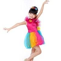Kinderen Ballroom Kostuums Meisje Tutu Rok Rood Geel Groen