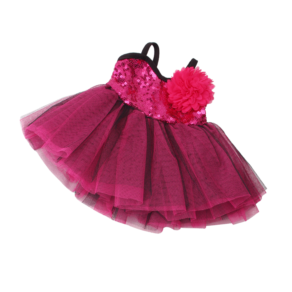 Trendy Doll Outfit Sleeveless Slip Dresses Wedding Skirt & Rosy Hairpin for 18inch American Girl Doll Accs Rose Purple