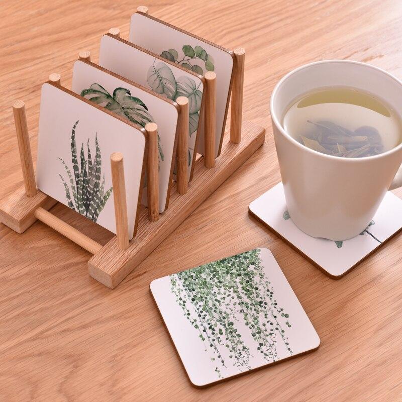 100 Uds. Cmen A's planta de impresión de madera posavasos almohadilla de la taza antideslizante térmica tapete café té bebida posavasos tapete de marca pintado A mano - 3