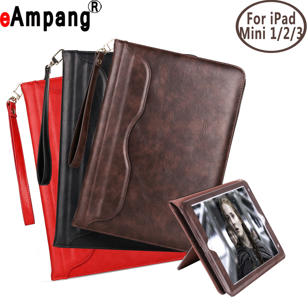 Premium Leather Handheld Tablet Auto Sleep Awake Smart Cover Case + Lanyard for Apple iPad mini 1 2 3 7.9 inch Coque Capa Funda